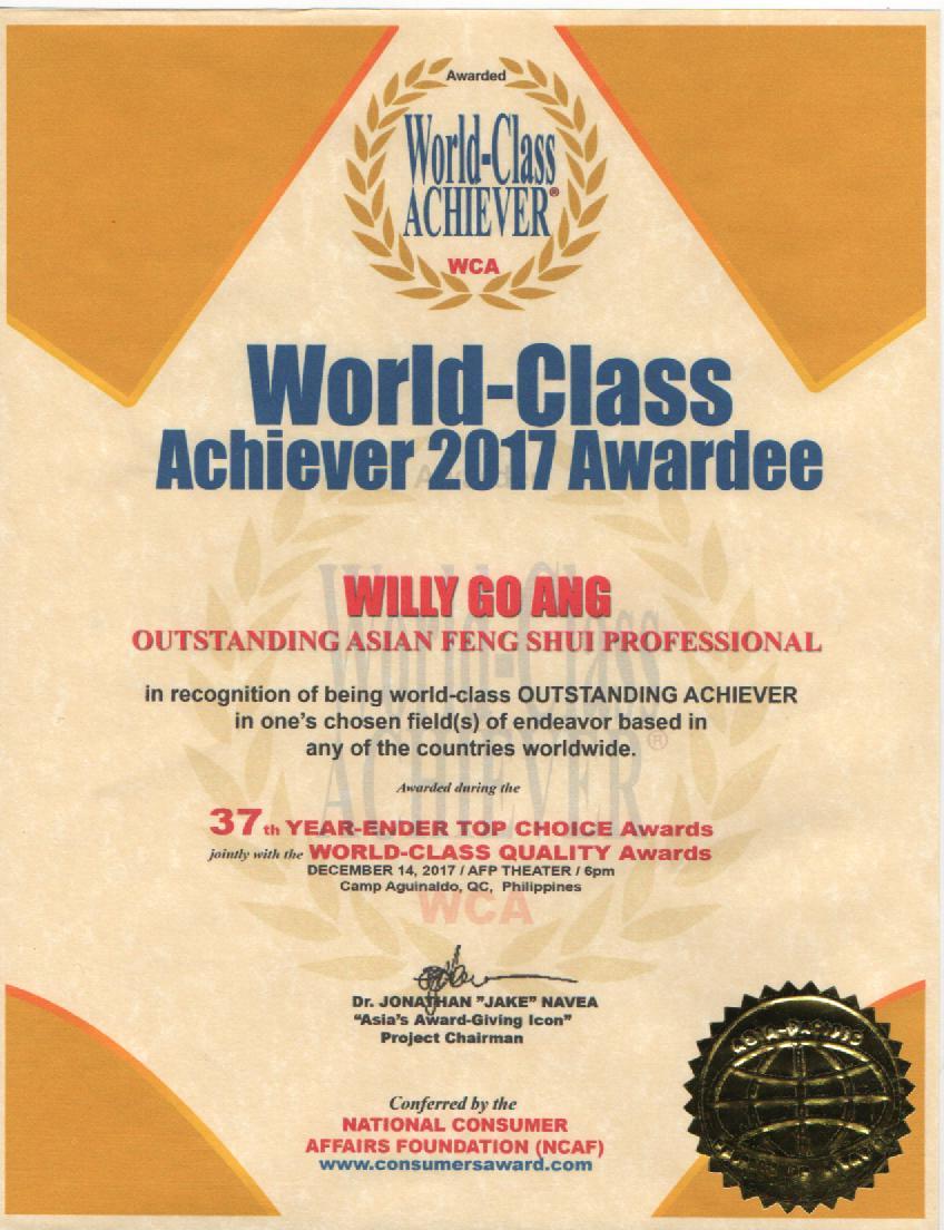 WORLD - CLASS ACHIEVER AWARDEE